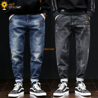 New Men`s Loose Denim Pants Retro Stretch Harem Taper Fit Baggy Jeans 28-42