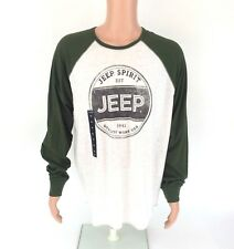 Lucky Brand Mens Jeep Spirit Raglan T-Shirt Size XLarge Green Ivory NWT
