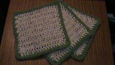 Crochet Dish Cloth -Cream, Green and Burgundy var. with Green border - Set of 3