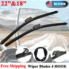 "22"" & 18"" Windshield Wiper Blades Premium OEM Quality J-Hook Bracketless Beam US"