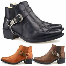 New Mens Western Cowboy Boots Cuban Heel Ankle Harness Slip On Size 7-12 UK