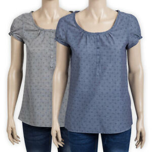 Womens Ladies Pure Cotton Plus Size Top Relaxed Fit Button Casual T-Shirt Blouse