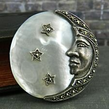 Sterling Silver, Marcasite & Mother of Pearl Man in Moon Pin / Brooch