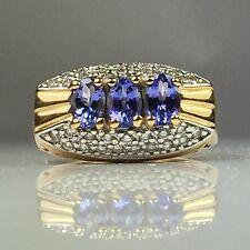 14K YELLOW GOLD FINELY CRAFTED 3 STONE TANZANITE & DIAMOND RING 8.4 GRAM SIZE 8