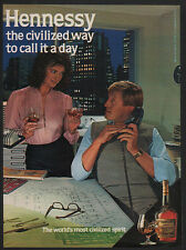 1984 HENNESSY Cognac - SECRETARY Drinking & Flirting with her BOSS - VINTAGE AD