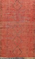 Antique Geometric Authentic Moroccan Oriental Tribal Area Rug Hand-knotted 4'x6'