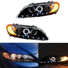 Black Headlights Set For Mazda 6 2006-2008 With LED DRL and Angel Eyes xenon