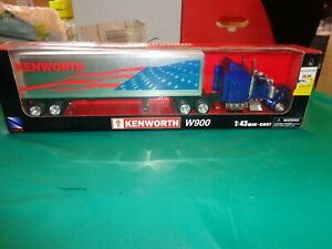NewRay Patriotic American Flag Kenworth W900 Semi Truck 1:43 Scale Die Cast