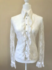 Dolce & Gabana White Lace Crystal Button Up Long Sleeve Ruffle Front Blouse