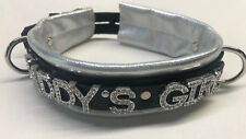 Lockable Leather collar metallic silver- Daddy's Girl Any Word