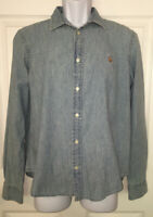 POLO RALPH LAUREN Boys Distressed Cotton Washed Denim Jean Shirt Button Sz L EUC