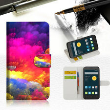Colorful Cloud TPU Wallet Case Cover For Optus X Smart 4G -- A021