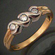 Classic Trilogy 3 DIAMONDS 9k Solid Yellow White GOLD ETERNITY DRESS RING Sz O