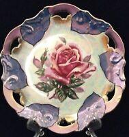 "Vtg Trimont Ware Japan Pink Rose Lustreware Luster Pierced Plate Iridescent 8"""