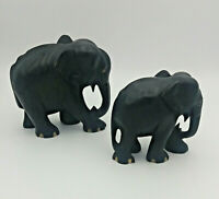 coppia elefanti madre e figlio statuine sculture africane artigianali in ebano