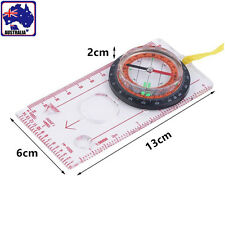 Baseplate Ruler Compass Map Scale Magnifier With Strap Camping Hiking OCOMP7198