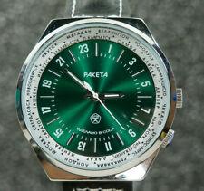 "Mechanical USSR watch Raketa""Time Zone"" 24 Hr Green Minerall glass"