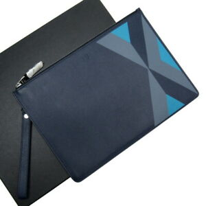 Auth dunhill Cadogan Marquetry Small Zip Folio Clutch Bag Navy Leather - h26274a