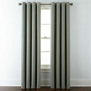 2 Liz Claiborne Quinn Basketweave Grommet Tennessee Sage Curtain Panels 50 x 95