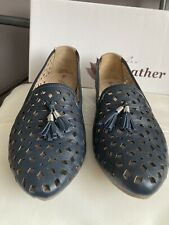 Lunar Ladies Navy Leather Loafer Shoes Size 6