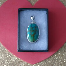 Superb Quality 925 Silver Pendant With Turquoise Gem 23.8 Gr. 5.5 x 2.5 Cm.Wide