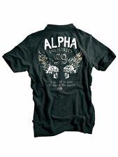 Alpha Industries Polo Shirt Burning Skull Grey Black Polo mit Applikationen 5324