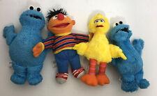 "Lot Of 4 Sesame Street 10"" Plush Cookie Monster (2) Ernie Big Bird Hasbro Toys"