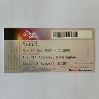 Yusuf Islam Cat Stevens - NIA Academy November 23 2009 concert ticket stub