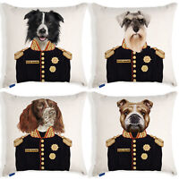 Personalised Dog Portrait Cushion Cover Art Uniform Military Birthday Gift
