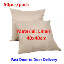 50pcs/pack Linen Sublimation Blank Pillow Case Cushion Cover, Fast Shipment