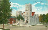 Peru Indiana~First Presbyterian Church~1933 Linen Postcard