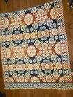 Antique Coverlet Center Seam Americana Weave Two Panel Loom 78 x 68