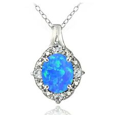 925 Silver Diamond Accent Created Blue Opal & Light Blue Topaz Oval Necklace