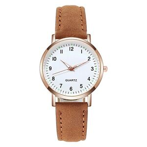 Leather Band Waterproof Simple Ladies Quartz Wristwatch