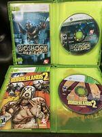 Xbox 360 FPS Lot: BioShock  & Borderlands 2 CIB Bundle, Clean Tested