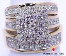 Wedding Diamond Yellow Gold Finish Trio His Her Bridal Band Engagement Ring Set