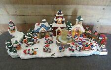 San Francisco Music Box Co Christmas Snowman Village w/Lights Winter Wonderland