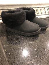 Women's UGG Classic Mini Fluff Black Boots- Size 9- 1106757