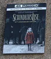 SCHINDLER'S LIST 25TH ANNIVERSARY ED 4K ULTRA HD  BLURAY + DIGITAL SLIPCOVER NEW