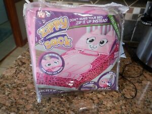 NEW Zippy Sack Pink Kitty Car Twin Zip Up Plush Fleece Bed Blanket Sheet RARE!