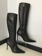 Chanel Women's Knee High Lambs Leather Patent Toes Size Eu 40 Uk 6