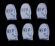 6 GREY R.I.P TOMBSTONE BUTTONS! CEMETERY HALLOWEEN GOTHIC GRAVEYARD COFFIN DEATH