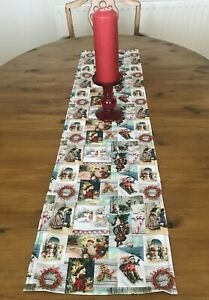 TRADITIONAL FATHER CHRISTMAS TABLE RUNNER 110cm x 26  Decoration GREENS STRAIGHT