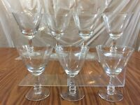 "Lot of 7 Martini Glasses Clear Glass Decorative Stem 6"" Tall Kitchen Barware"