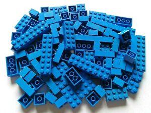 LEGO® Basic 100 Stück Bausteine Steine blau 2x2 bis 2x8 Konvolut