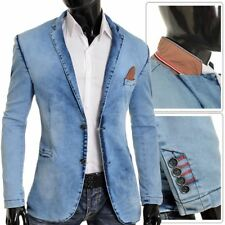 Men's Denim Blazer Casual Washed out look Slim Fit Soft Jacket Cotton Red Finish
