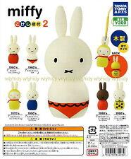 Miffy Kokeshi Netsuke 2 Wooden Mascot 6pcs  - Takara Tomy ARTS  , h#1ok
