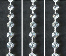 6FT Crystal Glass Octagon 12MM Bead Wedding Garland Sliver Bowtie Chain Supply