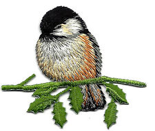 BIRDS - CHICKADEE ON BRANCH - IRON ON EMBROIDERED APPLIQUE PATCH - BIRD