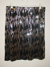 Calvin Klein black silver sequins skirt mesh zig zag design party sissy-M